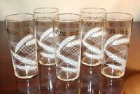 Set of 5 Vintage Federal Glass Clear Tumblers Glasses White Wheat Gold Leaf Band