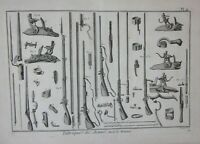 1751-80 FABRIQUE DES ARMES FUSIL MUNITION Diderot fucili fucile munizioni arma