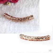 6x Carved Cutout Curved 18k Rose Gold Plated Tube Bead 41x6mm Floral Pattern