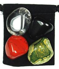 SHAMANIC JOURNEY Tumbled Crystal Healing Set = 4 Stones +Pouch +Description Card