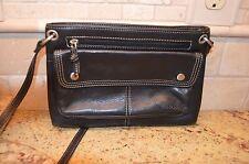 Vintage Fossil Black Leather Messenger Crossbody Organizer Bag EUC