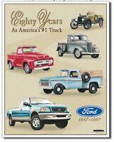 Ford Truck Metal Tin Sign 80th Anniversary F150 V8 Garage Shop Wall Decor New