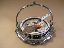 Butter dish, cheese dish, Imari patterned porcelain, EPNS frame