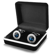Men's Stainless Steel Blue Crystal Cufflinks Business Shirt Cuff Links With Case