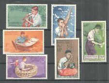 V0252 1957 LAOS CULTURE MUSIC INSTRUMENTS #60-65 MICHEL 27 EURO SET MNH