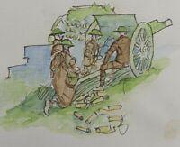 Royal field artillery 1918 RARE original pen & ink ww1