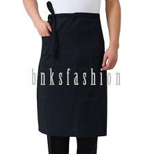 Adjustable Waist Apron Restaurant Home Bib Cooking Kitchen Stripes Pocket Apron