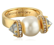 Rebecca Minkoff Gold Plated Faux-Pearl Ring Size 7 5944