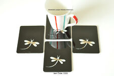 4 Handmade Coasters, Lacquered & Inlaid Rectangular Wooden Cork, Black C020