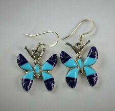 Butterfly Sterling Silver .925 Wire Earrings Inlaid Turquoise and Blue Lapis