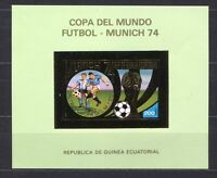 S5148) Guinea Ecuatorial 1974 MNH Wc Football-cm Football S/S GOLD Imperf