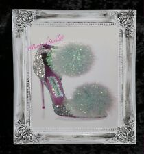 Pom-Pom Jimmy Shoes Silver Glitter Canvas Picture Shabby Chic frame , Wall Art.
