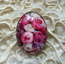 Cluster Of Flowers 30X40mm Glitter Unset Handmade Glass Art Bubble Cameo Cab