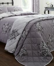 Catherine Lansfield Floral Bouquet Easy Care Bedspread Grey 220x230cm