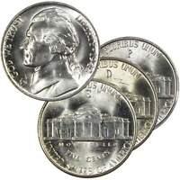 1942-1945 Jefferson Wartime Nickel 3 Coin All-Mint Set BU 35% Silver 5c US
