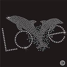 Amor Dolphin Rhinestone Diamante transferencia Hierro en Hotfix T Shirt Estampado De Adorno
