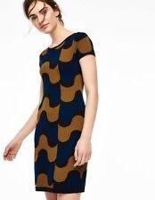 Boden Agigail Tunic Sweater Knit Dress Short Sleeve SZ 16L Tall US Black Blue