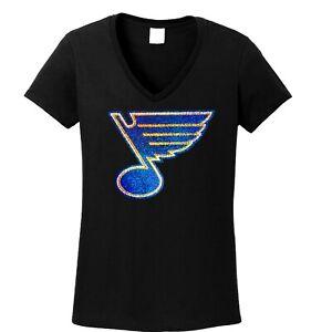 Women's  St. Louis Blues spangle t shirt lots of sparkle ladies