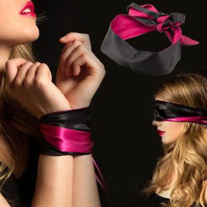 1PC Silk Satin Sexy Eye Mask Blindfold Reversible Glossy Ribbon Bondage Patch AU