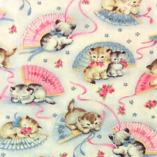 MM77 Kittens Cats Retro Vintage Cute Bows Cat Lover Quilting Cotton Fabric
