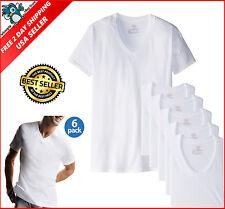 Hanes 6Pk Mens Basic White V-Neck Soft Cotton T-Shirts Undershirts Tagless Large