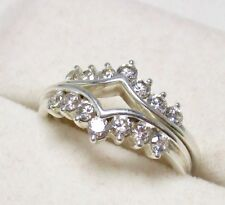 Ring Guards round stones Size 5.5 Qvc Diamonique Dq Cz Sterling Silver Pair