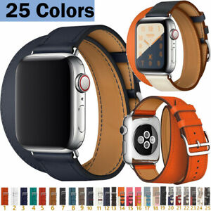 Double Tour Bracelet Loop Real Leather Band For iWatch Series 6 5 4 3 New Straps