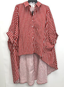 TOV Pinned Sleeves High/Low Blouse Red Sz 42 NWT