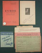 BOURRY - EVHOE POEMES ET CHRONIQUES A LA GLOIRE DE LA VIGNE ET DU VIN -1941 RARE