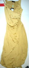New Womens 8 NWT Dress 44 Betta Beach Gold Split leg Tank Sexy Silky Italy Polya