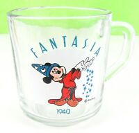 """Vintage Collectible Mickey Mouse """"Fantasia"""" Anniversary 1940 Clear Coffee Cup B1"""