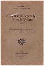 EGGLI Edmond - L'EROTIQUE COMPAREE DE CHARLES DE VILLERS 1806 - 1927