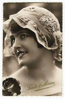 1930's Vintage French DECO SMILING FLAPPER photo postcard