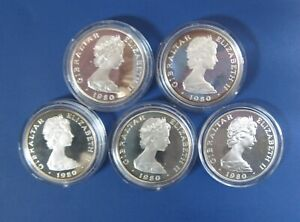 Lot of 5 GIBRALTAR 1980 ONE CROWN SILVER PROOF NELSON SHIP 1758-1805 ROYAL MINT