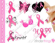 Breast Cancer Awareness Ribbon Support Nail Art Decal Sticker Set