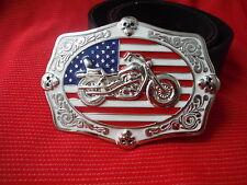 Bandera Americana Chopper Moto fácil Low Rider Moto Motociclista hebilla de cinturón de cuero
