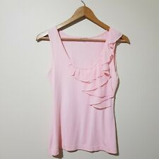 Review Size 8 Pink Sleeveless Ruffle Collar Top