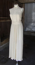 Vtg 1970's Lilli Diamond Halter Dress * Crinkle Gauze with Cotton Lace * S-M