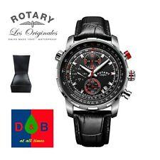 *LOW PRICE* Rotary GS03641/04 Men's Black Leather Strap Pilot Chrono Watch