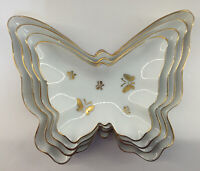 Vintage Porcelain Butterfly Nesting Trinket Dishes Trays Gold Trim Set Of 4