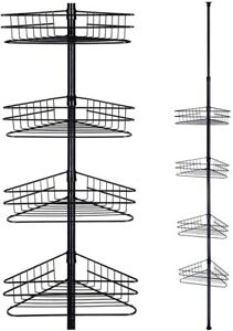 4 Tier Metal Bathroom Telescopic Corner Shower Shelf Caddy Pole Wall Rack