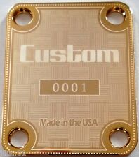 NECK PLATE CUSTOM - Made in the USA - 0001 - gold pour Fender strat, tele, bass