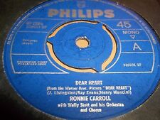 "RONNIE CARROLL "" DEAR HEART "" 7"" SINGLE 1965 EXCELLENT"