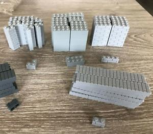 ☀️100x NEW Lego Moc 1x2 LIGHT BLUISH GRAY Modified Masonry Profile Bricks Wall