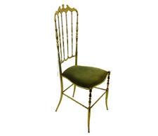 Mid Century Chiavari Chair Brass Hollywood Regency Italian Green Fabric Ornate