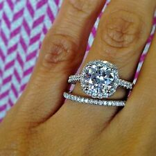Conflict Free 1.62 ct Halo Round Cut Diamond Engagement Bridal Set GIA F, SI1