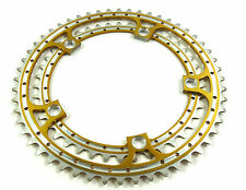 Gold Chainring Set Rino Anodized 42 & 52T 144 BCD fits Campagnolo Cranksets NOS