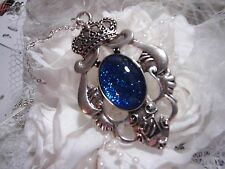 JRK CREST Blue Glass Cameo Necklace Pendant Royal Shield King Queen Crown Family