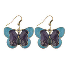 1 Pair New Women's Vintage Gold Enamel Colorful Butterfly Dangle Earrings Gift