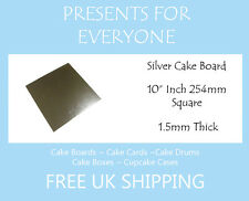 "5 x 10"" Inch Square Silver Covered Cake Board FREE SHIPPING"